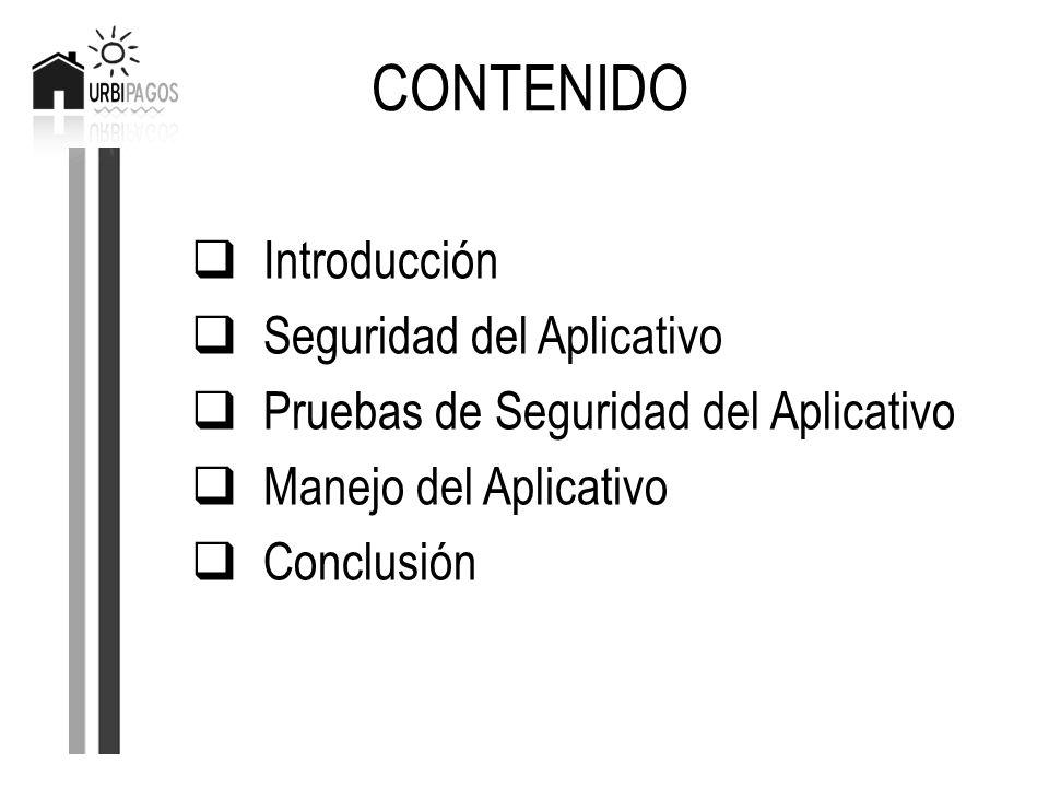 CONTENIDO Introducción Seguridad del Aplicativo