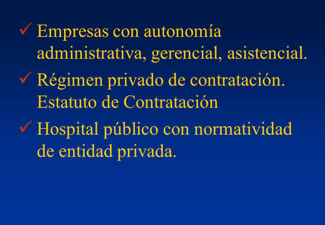 Empresas con autonomía administrativa, gerencial, asistencial.