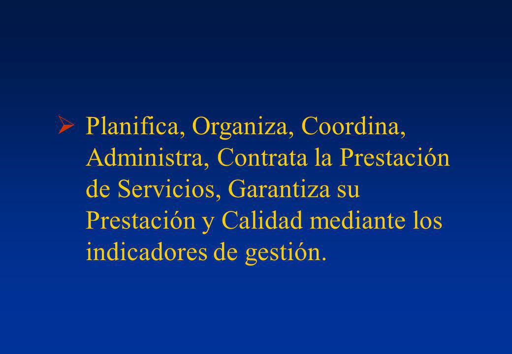 Planifica, Organiza, Coordina, Administra, Contrata la Prestación de Servicios, Garantiza su Prestación y Calidad mediante los indicadores de gestión.