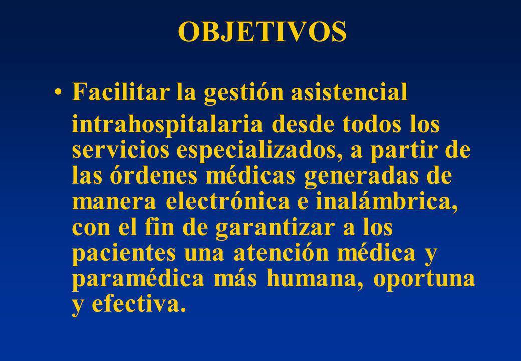 OBJETIVOS Facilitar la gestión asistencial