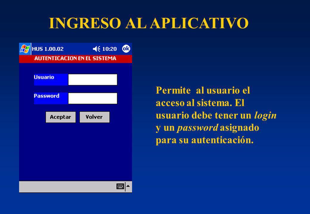 INGRESO AL APLICATIVO Permite al usuario el acceso al sistema.