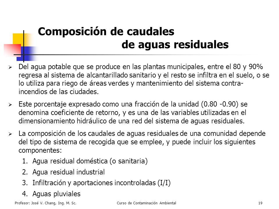 Composición de caudales de aguas residuales