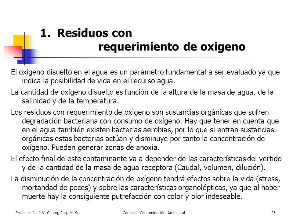 Residuos con requerimiento de oxigeno