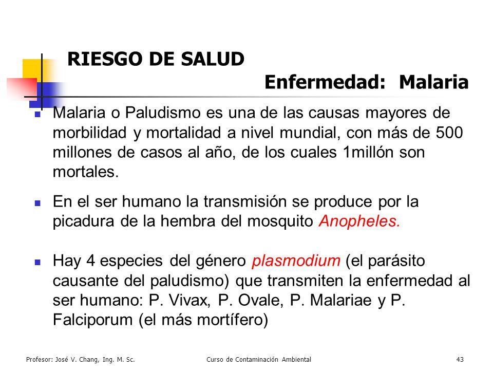 RIESGO DE SALUD Enfermedad: Malaria