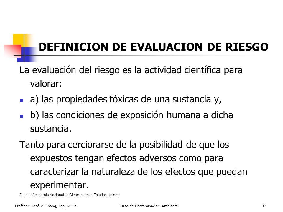DEFINICION DE EVALUACION DE RIESGO