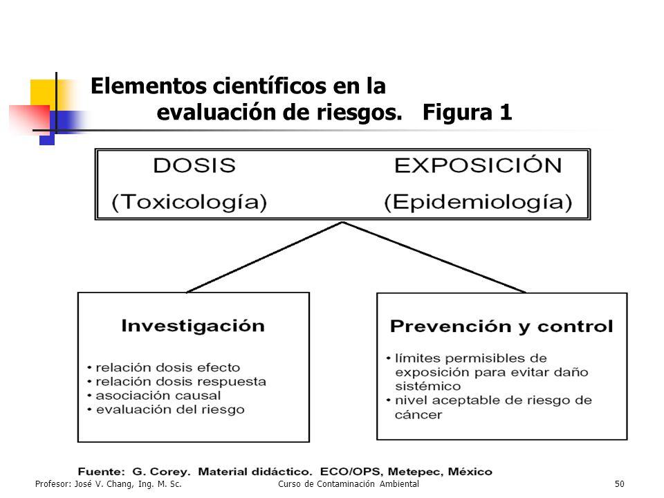 Elementos científicos en la evaluación de riesgos. Figura 1