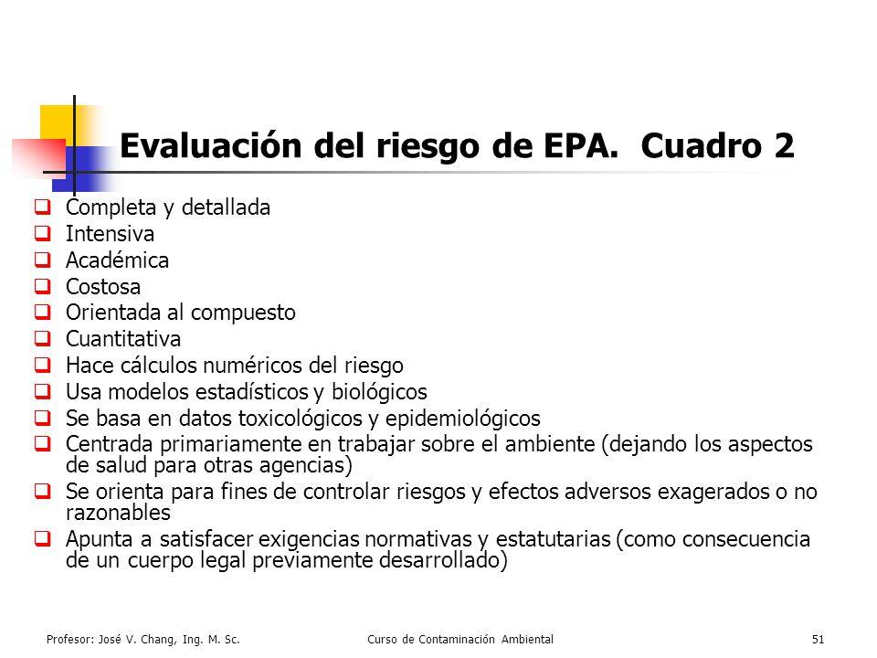 Evaluación del riesgo de EPA. Cuadro 2
