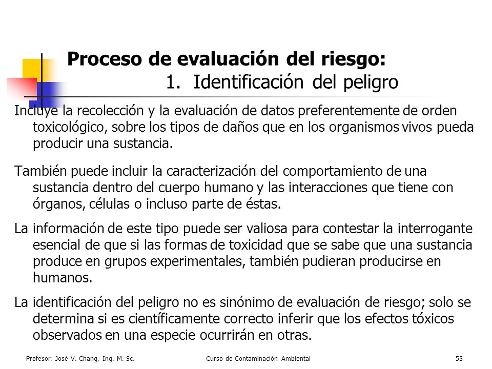 Proceso de evaluación del riesgo: 1. Identificación del peligro