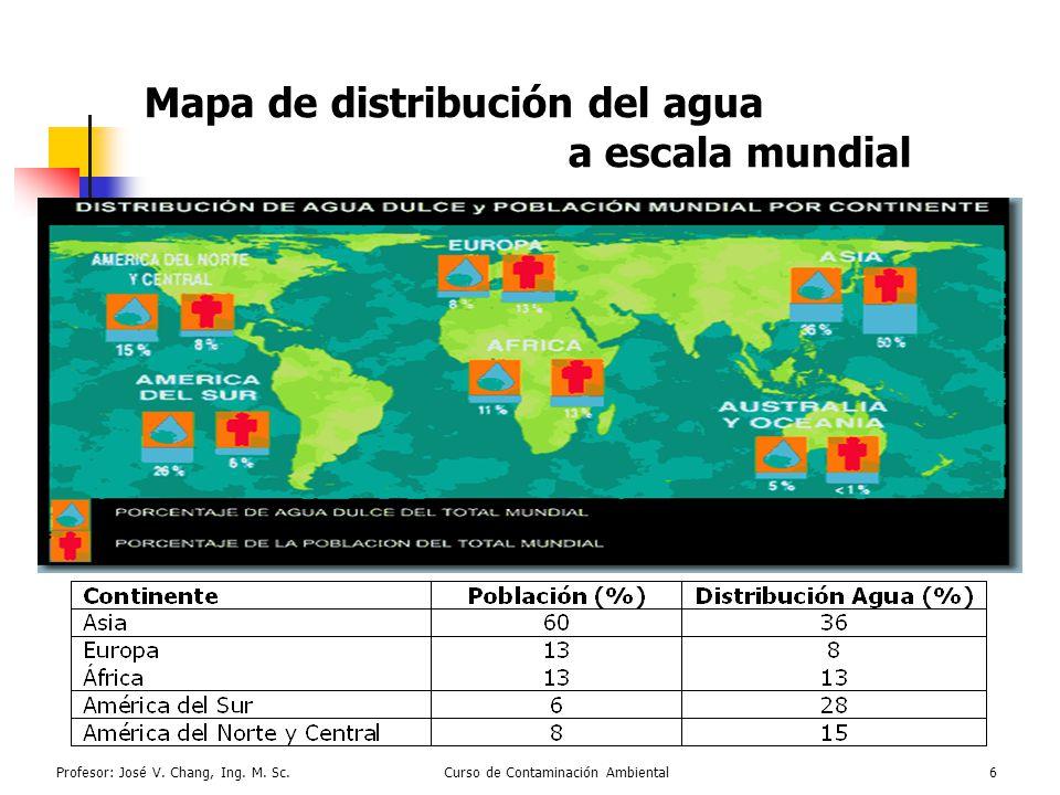 Mapa de distribución del agua a escala mundial