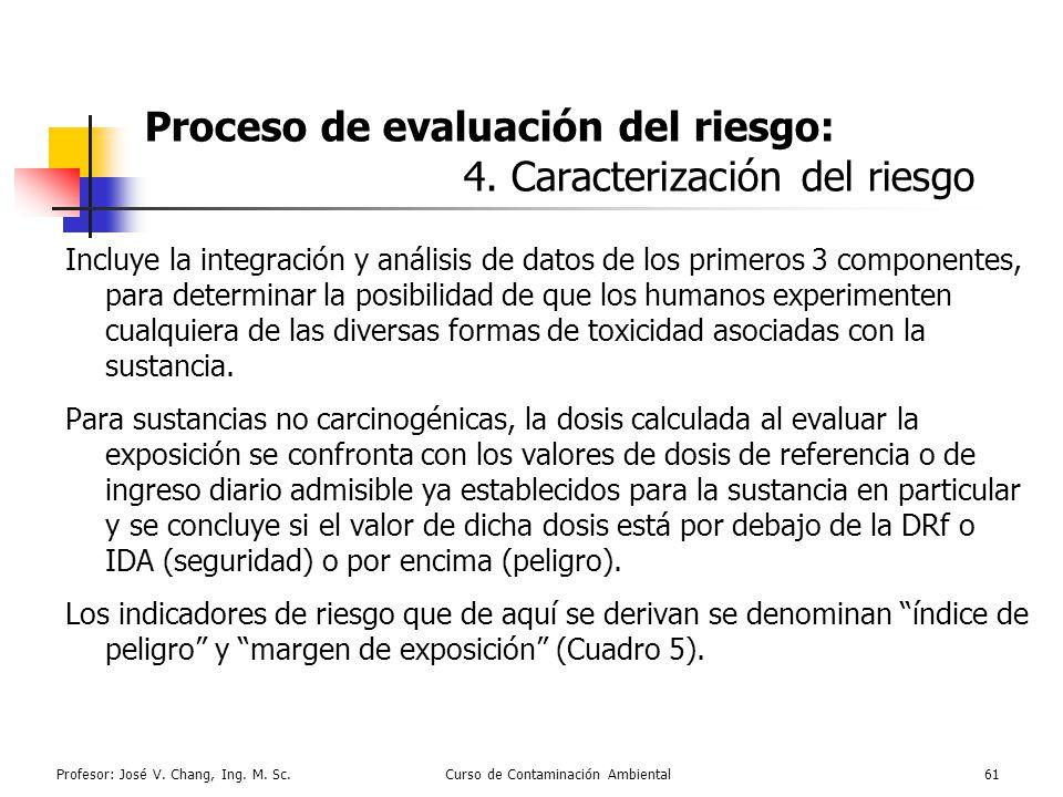 Proceso de evaluación del riesgo: 4. Caracterización del riesgo