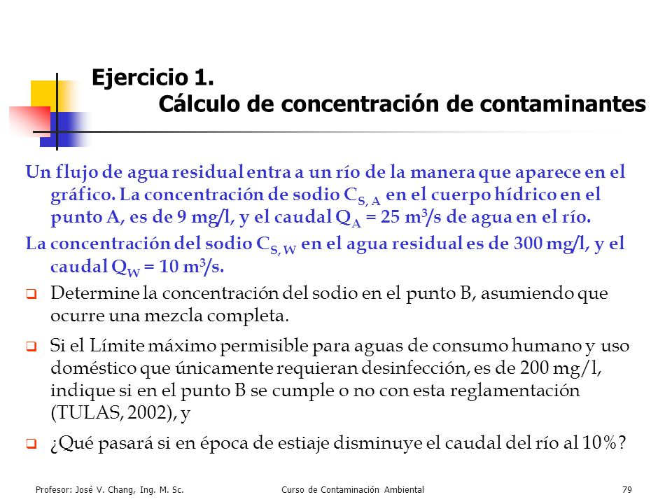 Ejercicio 1. Cálculo de concentración de contaminantes