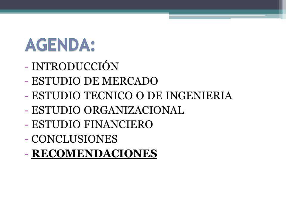AGENDA: INTRODUCCIÓN ESTUDIO DE MERCADO
