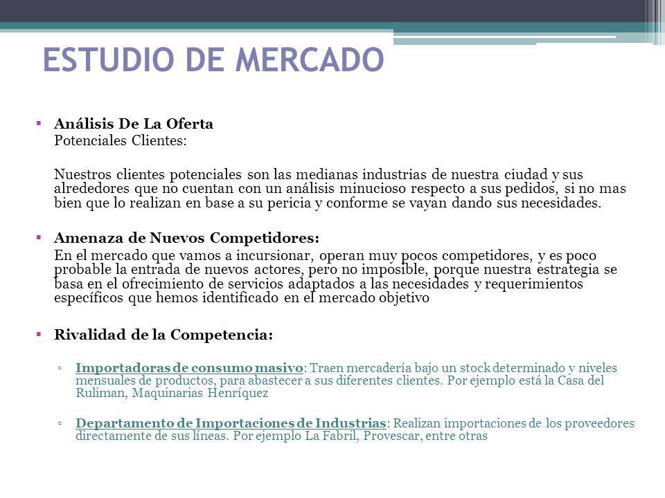 ESTUDIO DE MERCADO Análisis De La Oferta Potenciales Clientes: