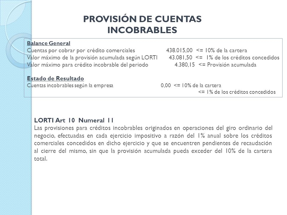 PROVISIÓN DE CUENTAS INCOBRABLES