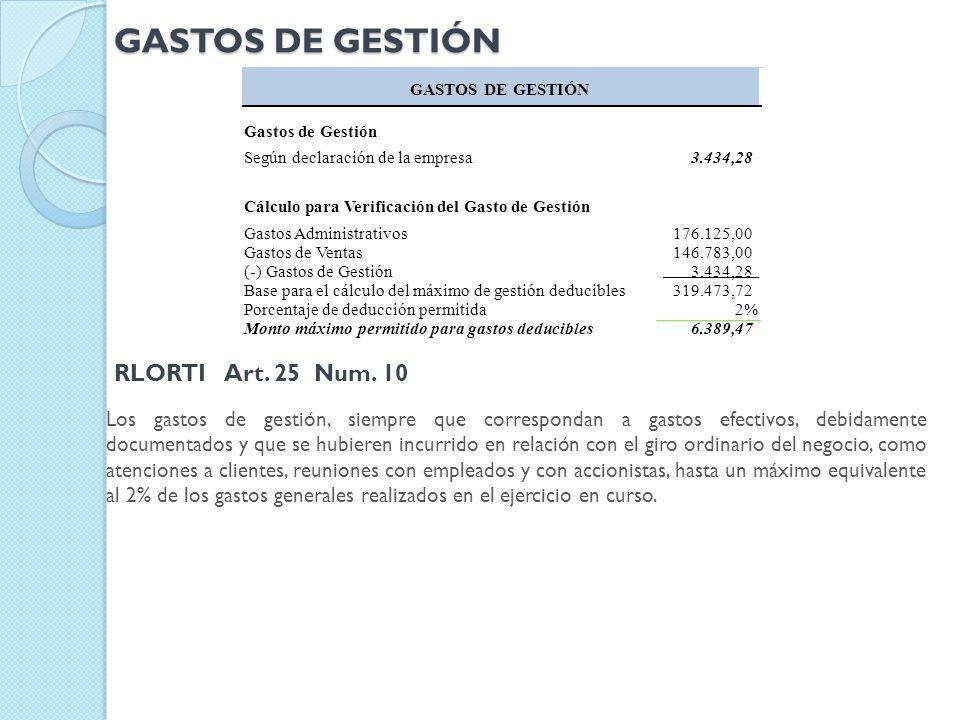 GASTOS DE GESTIÓN RLORTI Art. 25 Num. 10
