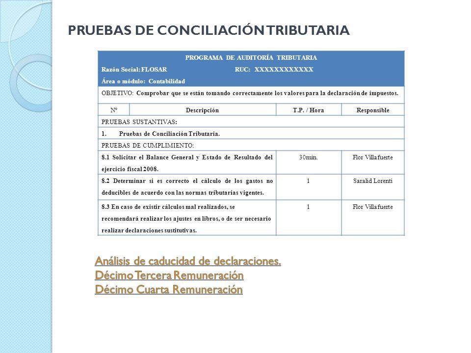 PROGRAMA DE AUDITORÍA TRIBUTARIA