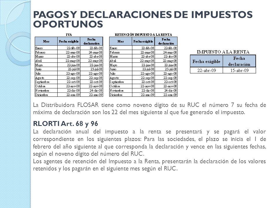PAGOS Y DECLARACIONES DE IMPUESTOS OPORTUNOS