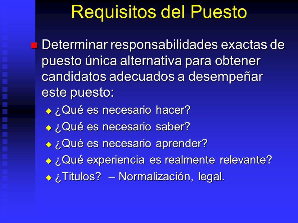 Requisitos del Puesto Determinar responsabilidades exactas de puesto única alternativa para obtener candidatos adecuados a desempeñar este puesto: