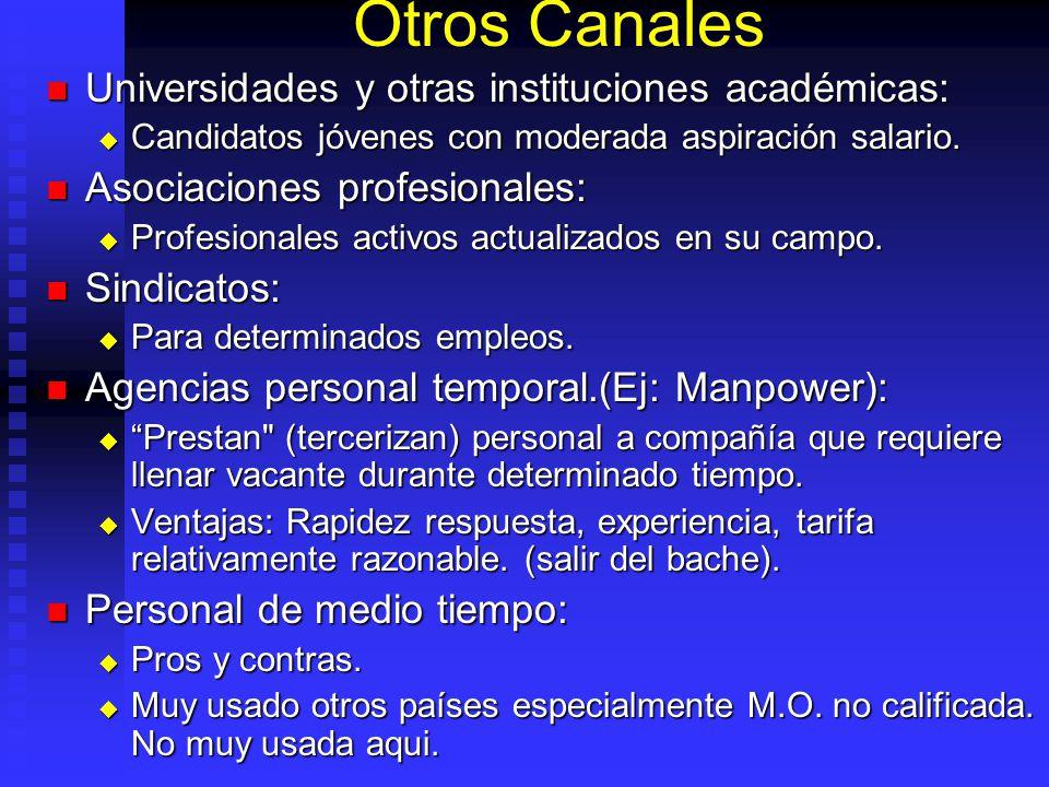 Otros Canales Universidades y otras instituciones académicas: