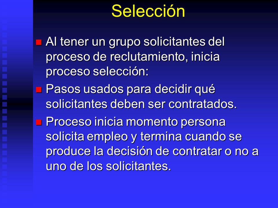 Selección Al tener un grupo solicitantes del proceso de reclutamiento, inicia proceso selección: