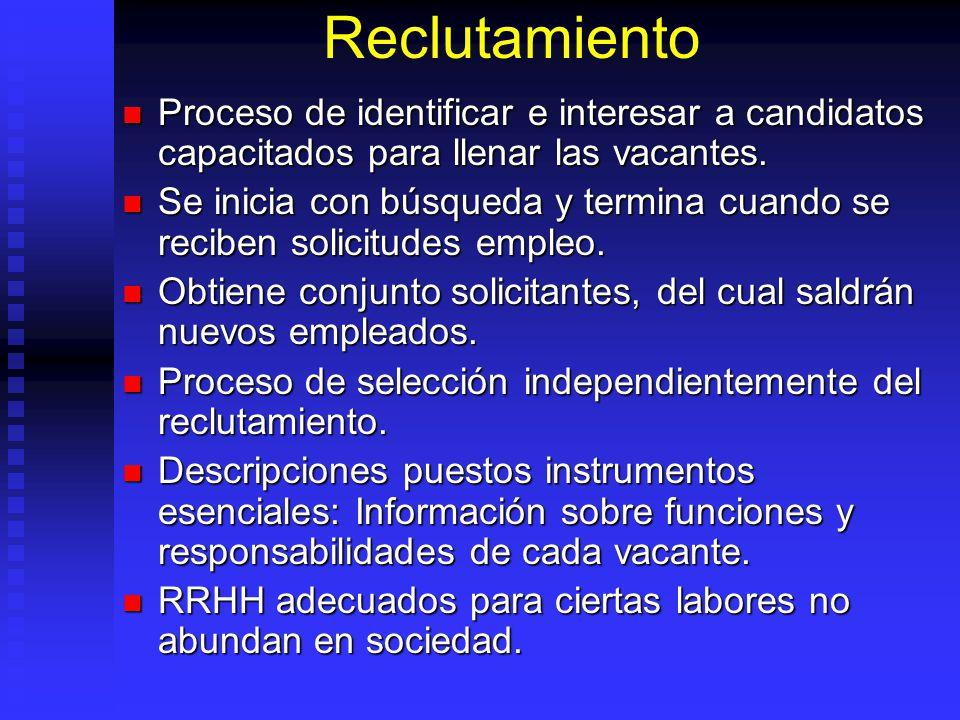 Reclutamiento Proceso de identificar e interesar a candidatos capacitados para llenar las vacantes.