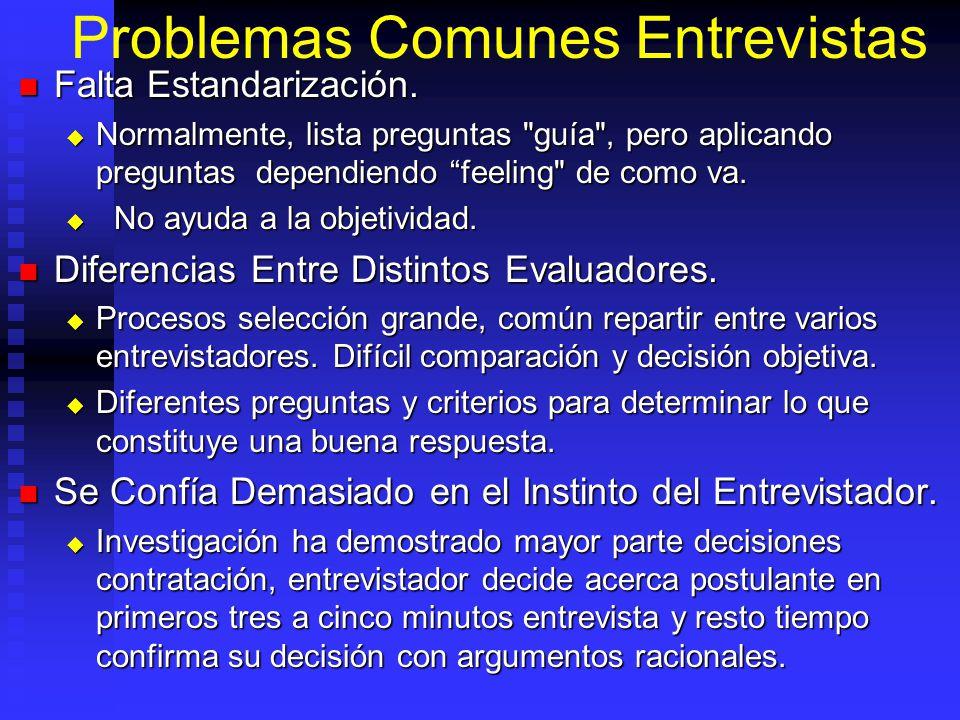 Problemas Comunes Entrevistas