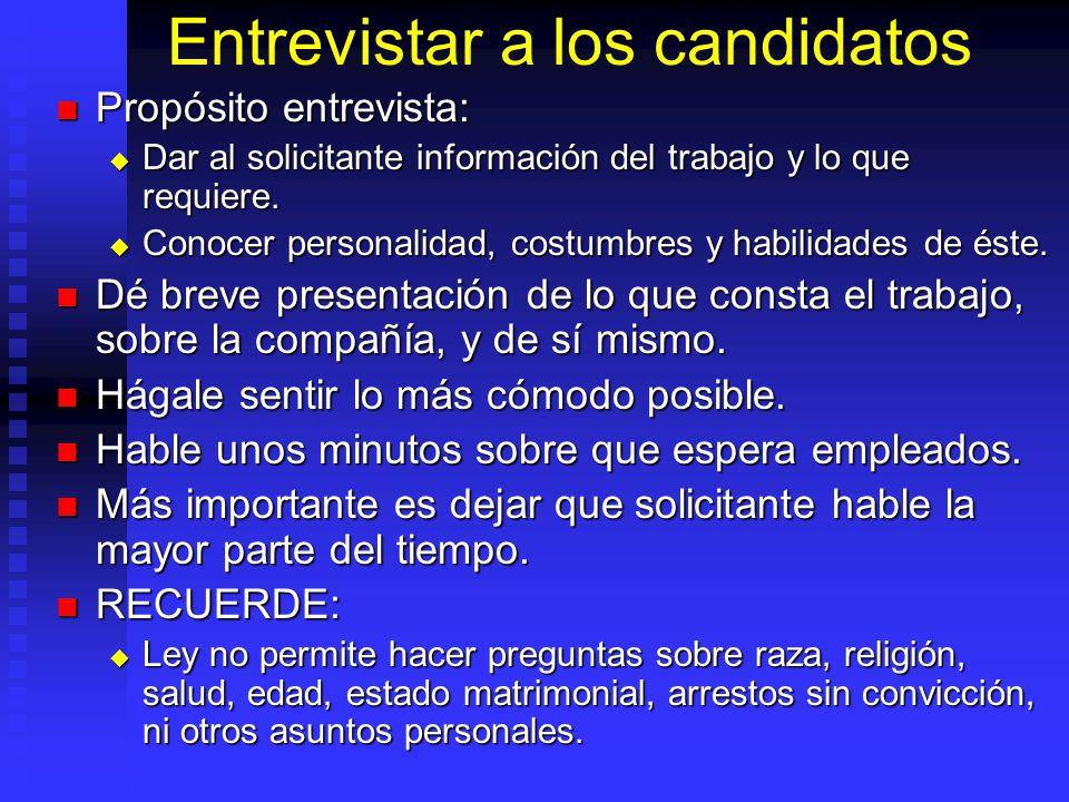 Entrevistar a los candidatos