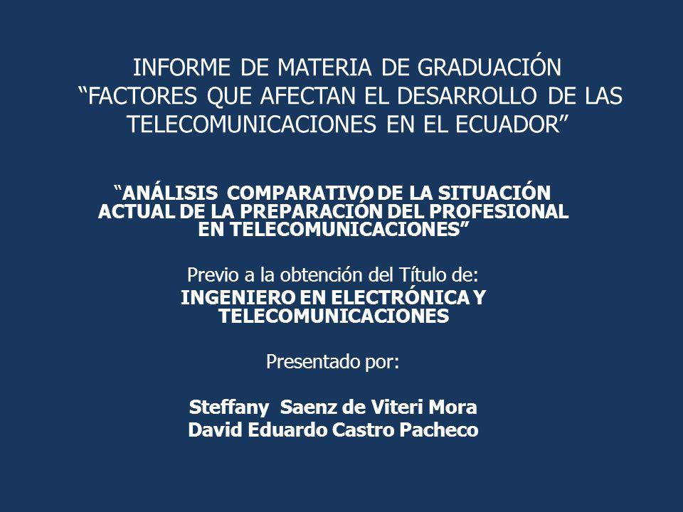 INFORME DE MATERIA DE GRADUACIóN FACTORES QUE AFECTAN EL DESARROLLO DE LAS TELECOMUNICACIONES EN EL ECUADOR