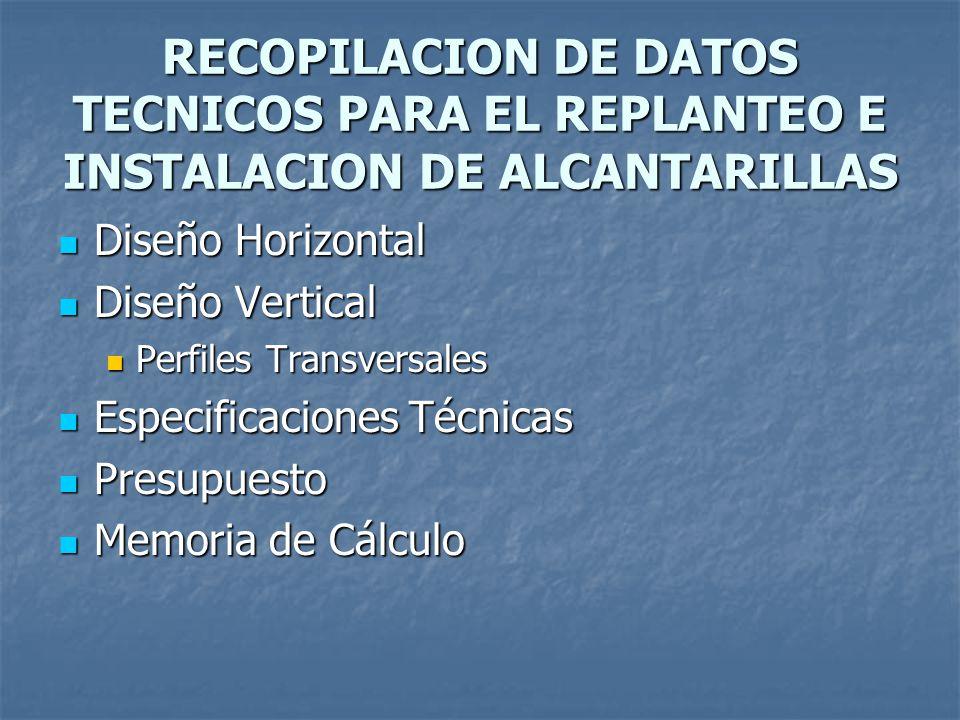 RECOPILACION DE DATOS TECNICOS PARA EL REPLANTEO E INSTALACION DE ALCANTARILLAS