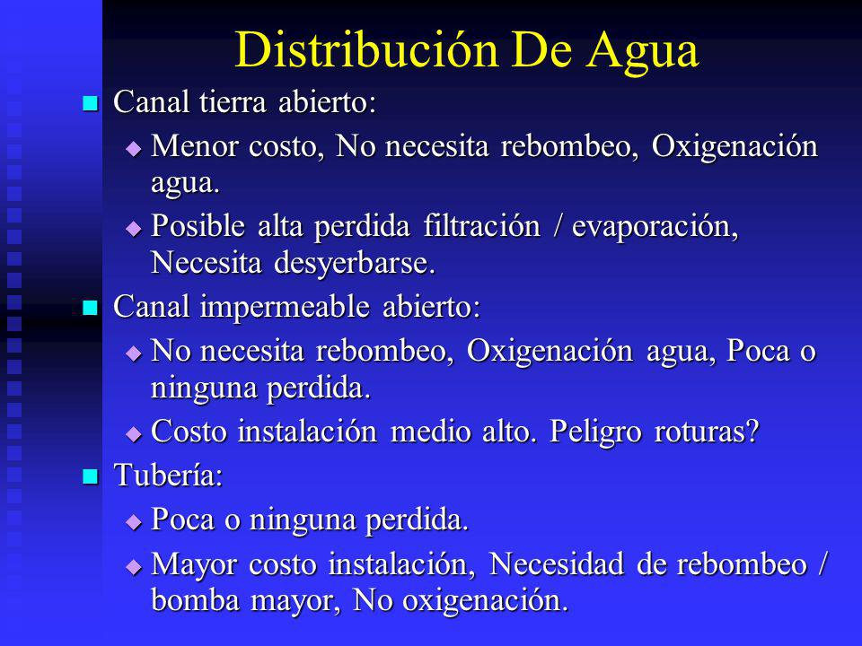 Distribución De Agua Canal tierra abierto:
