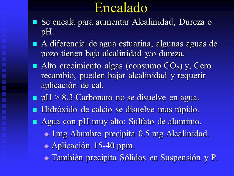 Encalado Se encala para aumentar Alcalinidad, Dureza o pH.