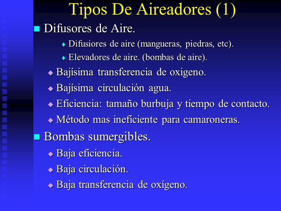 Tipos De Aireadores (1) Difusores de Aire. Bombas sumergibles.