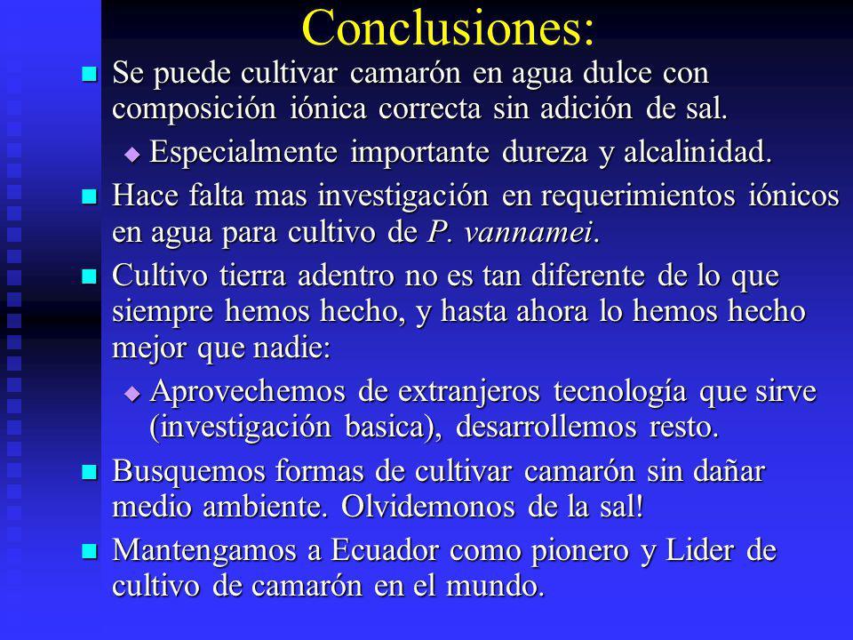 Conclusiones: Se puede cultivar camarón en agua dulce con composición iónica correcta sin adición de sal.