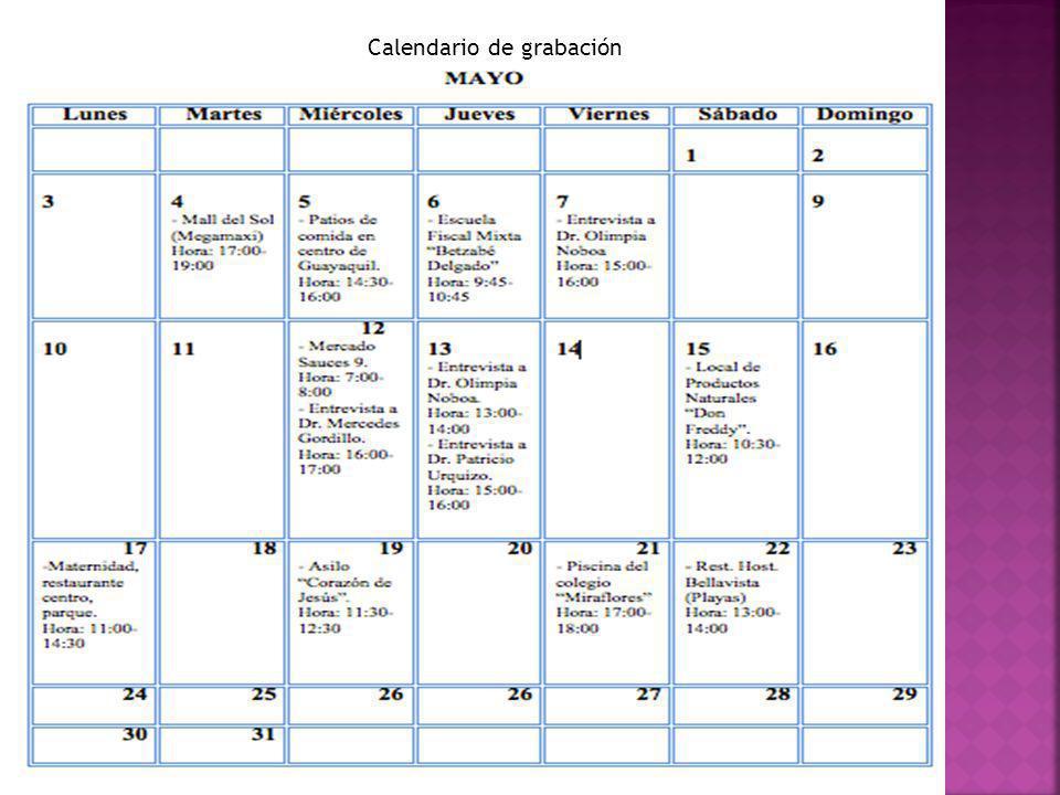 Calendario de grabación