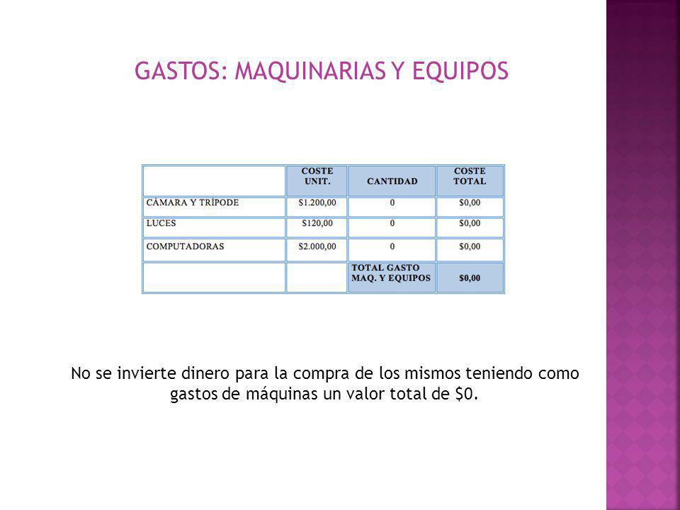 GASTOS: MAQUINARIAS Y EQUIPOS