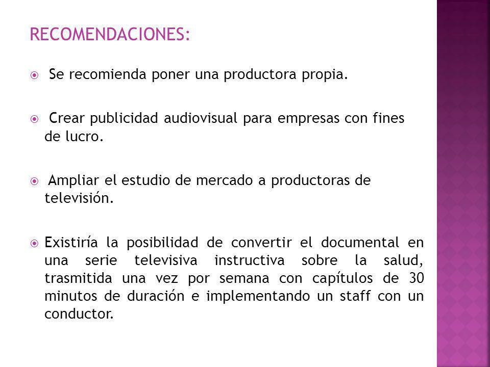 RECOMENDACIONES: Se recomienda poner una productora propia.