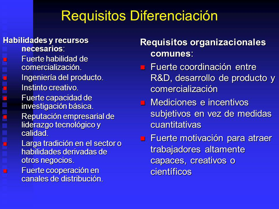 Requisitos Diferenciación