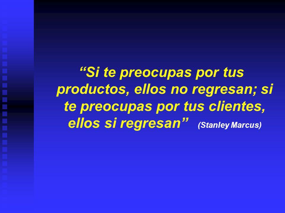 Si te preocupas por tus productos, ellos no regresan; si te preocupas por tus clientes, ellos si regresan (Stanley Marcus)