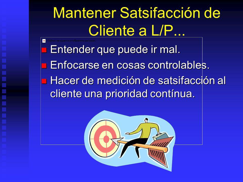 Mantener Satsifacción de Cliente a L/P...