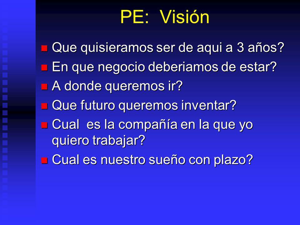 PE: Visión Que quisieramos ser de aqui a 3 años