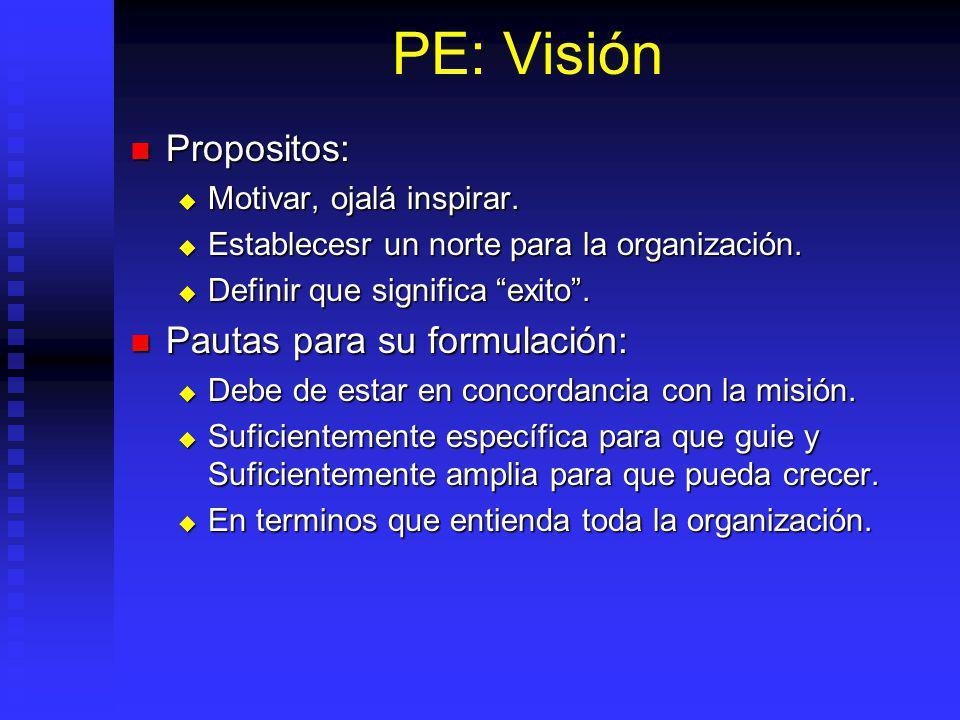 PE: Visión Propositos: Pautas para su formulación: