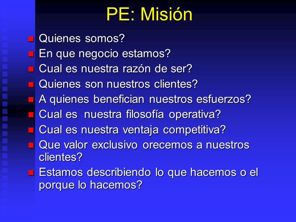 PE: Misión Quienes somos En que negocio estamos