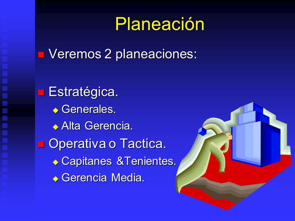 Planeación Veremos 2 planeaciones: Estratégica. Operativa o Tactica.