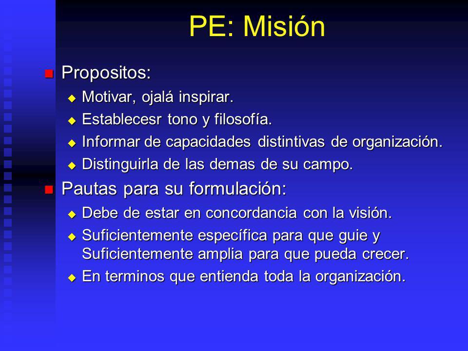 PE: Misión Propositos: Pautas para su formulación: