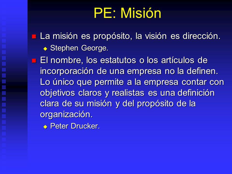 PE: Misión La misión es propósito, la visión es dirección.