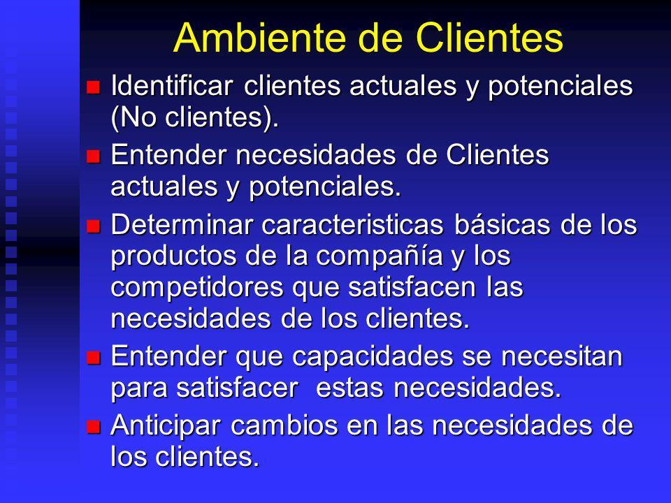 Ambiente de Clientes Identificar clientes actuales y potenciales (No clientes). Entender necesidades de Clientes actuales y potenciales.