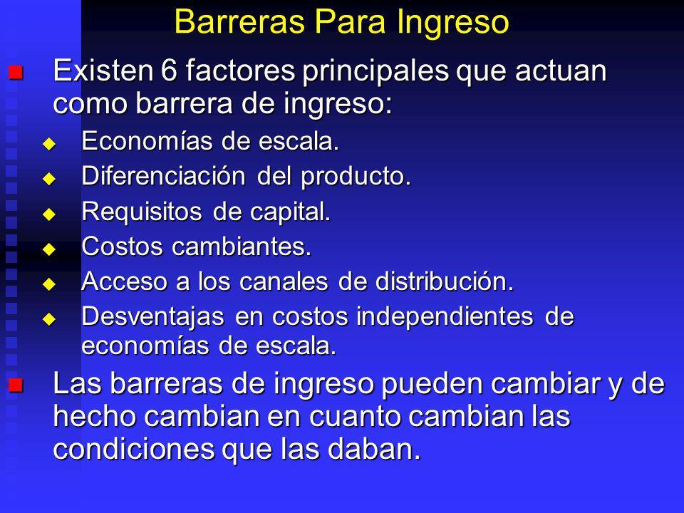 Barreras Para Ingreso Existen 6 factores principales que actuan como barrera de ingreso: Economías de escala.