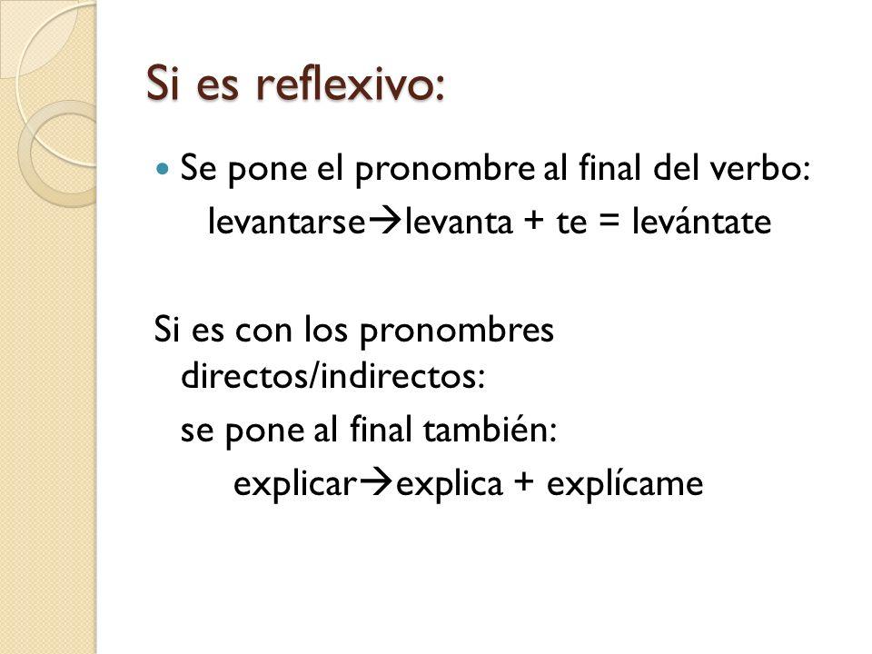 Si es reflexivo: Se pone el pronombre al final del verbo:
