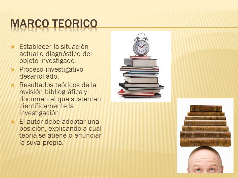 Marco teorico Establecer la situación actual o diagnóstico del objeto investigado. Proceso investigativo desarrollado.