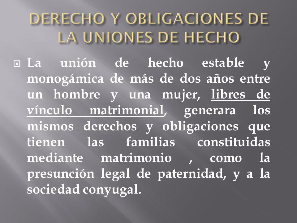 DERECHO Y OBLIGACIONES DE LA UNIONES DE HECHO
